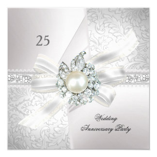 25th Wedding Anniversary Party Pearl White Silver Card