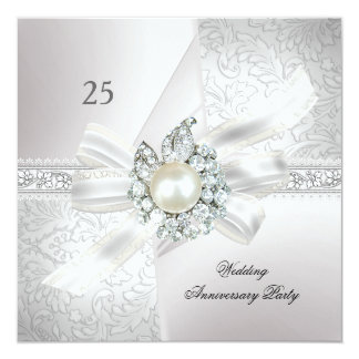 "25th Wedding Anniversary Party Pearl White Silver 5.25"" Square Invitation Card"