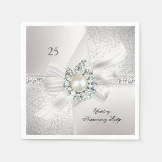 25th Wedding Anniversary Party Pearl White Silver Napkin