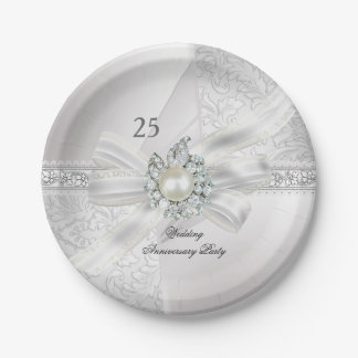 25th Wedding Anniversary Party Pearl White Silver Paper Plate