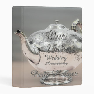 25th Wedding Anniversary Party Planner Chic Silver Mini Binder