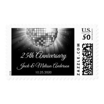 25th Wedding Anniversary Party Silver Disco Ball Postage