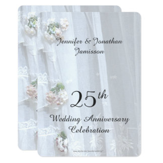 25th Wedding Anniversary Party, Vintage Lace Invitation