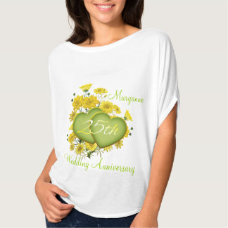 25th Wedding Anniversary Party Wildflower Hearts T Shirt