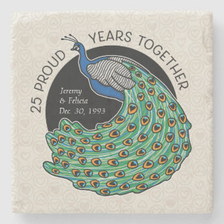 25th Wedding Anniversary, Peacock and Hearts Stone Coaster