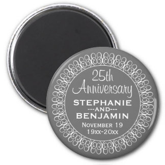 25th Wedding Anniversary Personalized 2 Inch Round Magnet