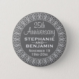 25th Wedding Anniversary Personalized Button