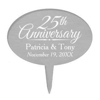 25th Wedding Anniversary Personalized Cake Topper
