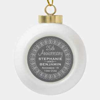 25th Wedding Anniversary Personalized Ceramic Ball Christmas Ornament