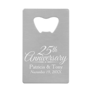 25th Wedding Anniversary Personalized Credit Card Bottle Opener