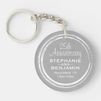 25th Wedding Anniversary Personalized Double-Sided Round Acrylic Keychain
