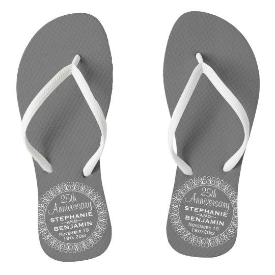 522a79feb 25th Wedding Anniversary Personalized Flip Flops