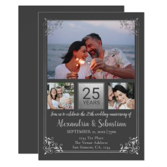 25th Wedding Anniversary Personalized Frame Invitation