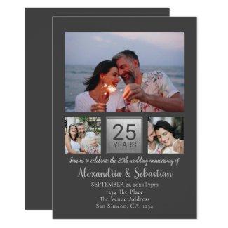 25th Wedding Anniversary Personalized Grey Silver Invitation