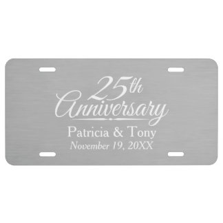 25th Wedding Anniversary Personalized License Plate