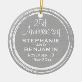 25th Wedding Anniversary Personalized Double-Sided Ceramic Round Christmas Ornament