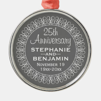 25th Wedding Anniversary Personalized Round Metal Christmas Ornament