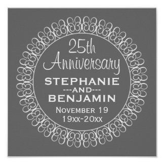 25th Wedding Anniversary Personalized Poster