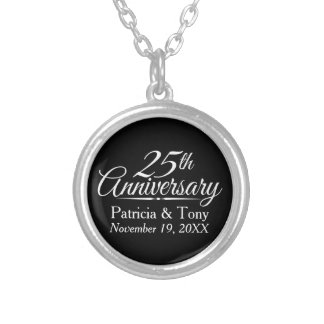 25th Wedding Anniversary Personalized Round Pendant Necklace