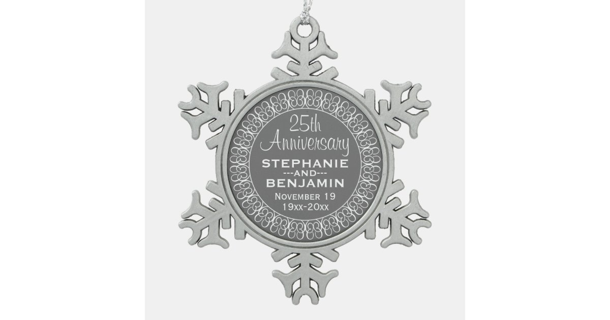 25th Wedding Anniversary Personalized Snowflake Pewter ...