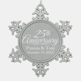25th wedding anniversary ornament. 25th wedding anniversary personalized snowflake pewter christmas ornament i