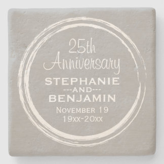 25th Wedding Anniversary Personalized Stone Coaster