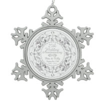 25th Wedding Anniversary-Pewter Snowflake Ornament