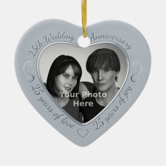 25th Wedding Anniversary Photo Double-Sided Heart Ceramic Christmas Ornament
