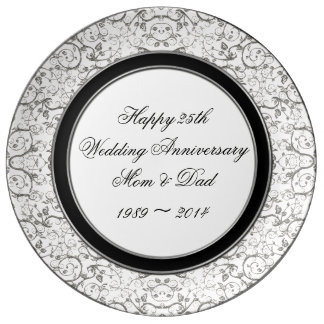 25th Wedding Anniversary Porcelain Plate