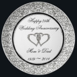 "25th Wedding Anniversary Porcelain Plate<br><div class=""desc"">A Digitalbcon Images Design featuring a Platinum Silver and Black color theme with a variety of custom images, shapes, patterns, styles and fonts in this one-of-a-kind &quot;Silver Wedding Anniversary&quot; Porcelain Plate. This elegant and attractive design makes the ideal gift for the Anniversary Couple on the special occasion and comes with...</div>"