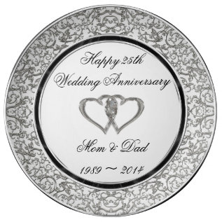 25th Wedding Anniversary Porcelain Plate at Zazzle