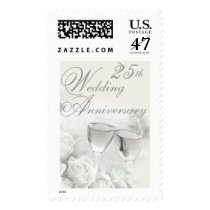 25th Wedding Anniversary Postage Stamp