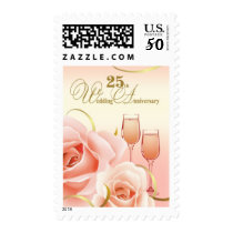 25th Wedding Anniversary Postage Stamps