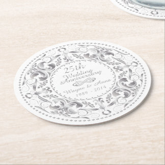 25th Wedding Anniversary - Round Paper Coaster