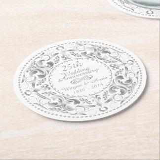 25th Wedding Anniversary - Round Paper Coaster