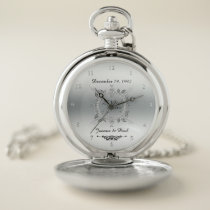 25th Wedding Anniversary Silver 25 Years Together Pocket Watch