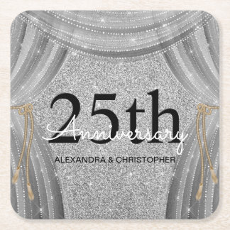 25th Wedding Anniversary Silver and Black Sparkle Square Paper Coaster
