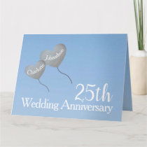 25th Wedding Anniversary silver balloon large Card