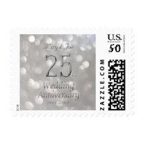 25th Wedding Anniversary Silver Bokeh Typography Postage