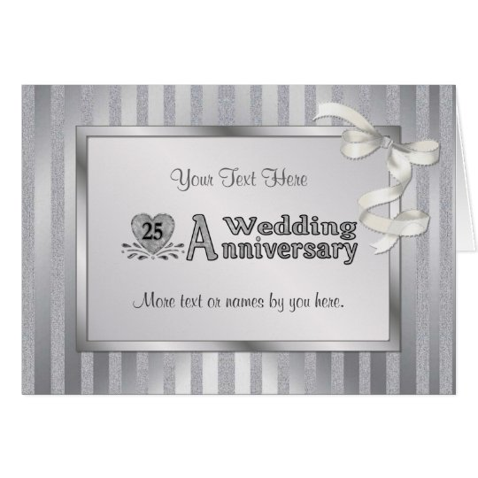 25th Wedding Anniversary - Silver Card