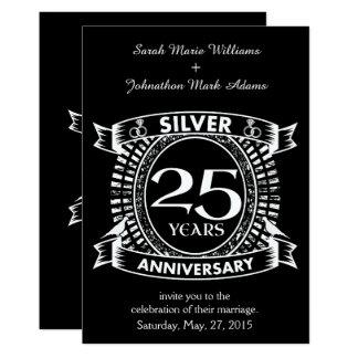 25th wedding anniversary silver crest card
