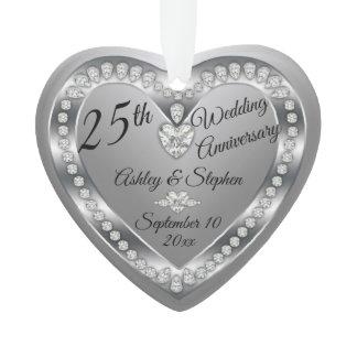 25th Wedding Anniversary Silver Diamonds Keepsake Ornament