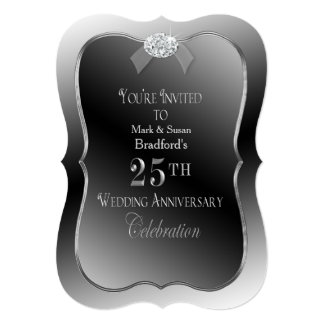 25th Wedding Anniversary - Silver Faux Diamond Card