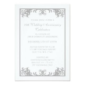 25th Wedding Anniversary Silver Flourish Scroll Card