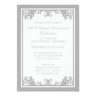 "25th Wedding Anniversary Silver Flourish Scroll 5"" X 7"" Invitation Card"