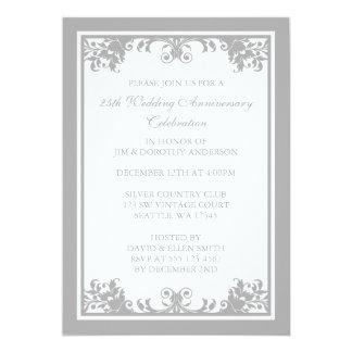 25th Wedding Anniversary Silver Flourish Scroll Invitation