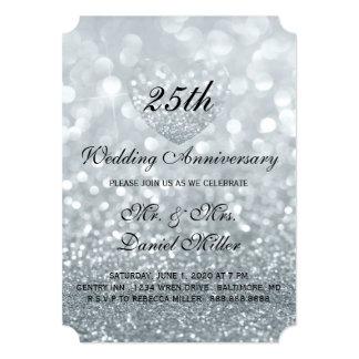 25th Wedding Anniversary Silver Glitter Heart Invitation
