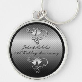 25th Wedding Anniversary Silver Key Chain
