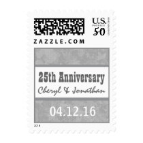 25th Wedding Anniversary Silver Muted Leaves B03 Postage