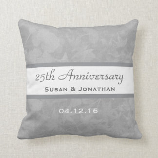 25th Wedding Anniversary Silver Muted Leaves B20 Pillow